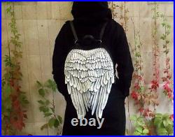 Black white Leather Backpack Leather Wings Backpack Unique Wings Bag