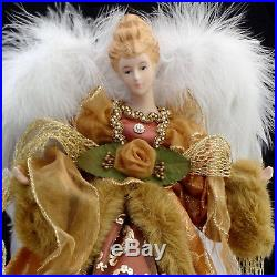 CHRISTMAS TREE TOPPER / LARGE-SIZE MAJESTIC BRONZE ANGEL with REAL FEATHER WINGS