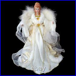 CHRISTMAS TREE TOPPER / LARGE-SIZE WHITE & GOLD ANGEL with REAL FEATHER WINGS