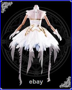 Card Captor Sakura Clear Card OP Ver White Snow Angel Cosplay Costume Dress LOT