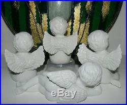 Christmas Figurine Angel Vintage 1970s Cherub Wings Thinking LARGE White Lot o 4