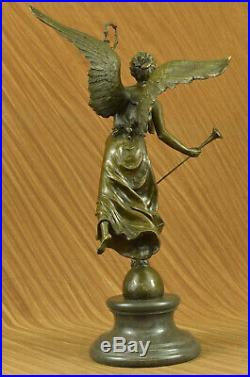 Classic Bronze Large (25 High) Woman Winged Angel withmarble base Lost Wax Deal