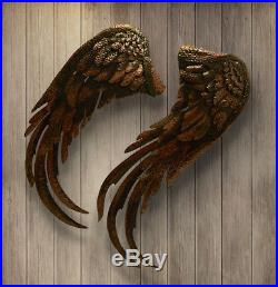Copper Angel wings Noble Angles Landing modern Large iron wall sculpture