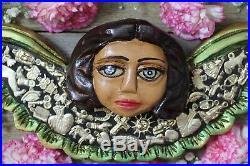 Cupid Angel & Wings Large Handmade Wood Milagros Folk Art Michoacán Mexican