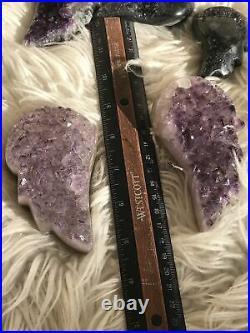 Dark Large Amethyst Druzy Angel Wing Pair 3- Christmas Gift