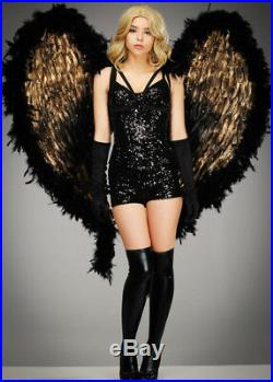 Deluxe Extra Large Black and Gold Feather Angel Wings