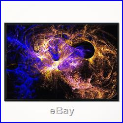 Designart'Wings of Angels Blue in Black' Large Abstract Framed Canvas Art