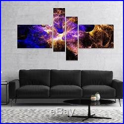 Designart'Wings of Angels Blue in Black' Large abstract art