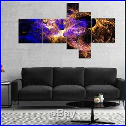 Designart'Wings of Angels Blue in Black' Large abstract art Multi, 60 x 32