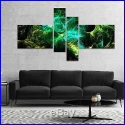 Designart'Wings of Angels Green in Black' Large abstract Multi, 60 x 32