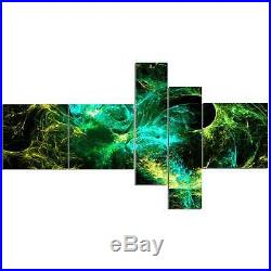 Designart'Wings of Angels Green in Black' Large abstract art