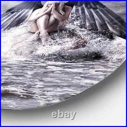 Designart'Woman with Dark Angel Wings' Modern Beach Round Extra Large