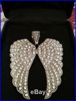 Double Angel Wings Pendant Necklace/W Crystals Large SEE PICS