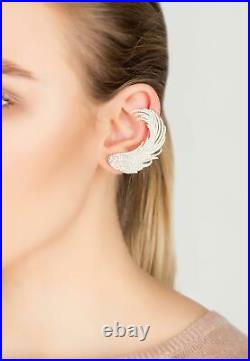 Ear Climber Cuff Earrings Rose Gold Pink Feather Angel Wing Large Statement