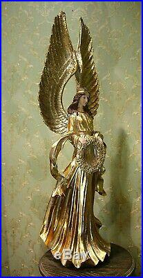 Especially Large Angel Victoria Gold With Wreath And Large Wings 35 3/8in New