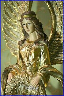 Especially Large Angel Victoria Gold with Wreath and Large Wings 90cm New
