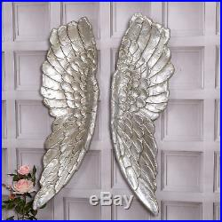 Extra Large Antique Silver Angel Wings Decorative Wall Mounted Hanging Art Gift