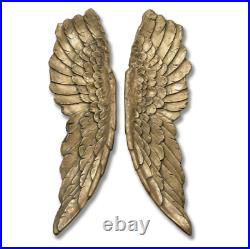 Extra Large Pair Of Antique Gold Hanging Angel Wings Wall Decor 104cm
