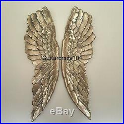 Extra Large Pair of Gold ANGEL WINGS Wall Hanging resin aged 104cm