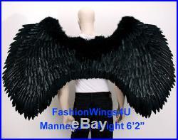 FashionWings BLACK XXXL Super Large wingspan costume feather angel wings