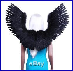 FashionWings TM Black Open Swing V Shape Costume Feather Angel Wings Unisex