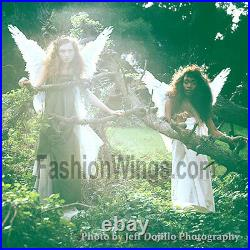 FashionWings (TM) White Butterfly Style Costume Feather Angel Wings &Halo Unisex