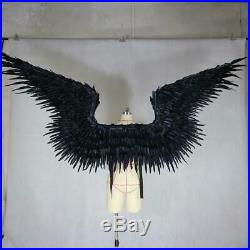 Feathered Wings Devil Angel Halloween Wings Catwalk Model Large Cosplay Black