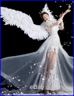 Feathered Wings White Angel Halloween Wings Catwalk Model Large Cosplay Party