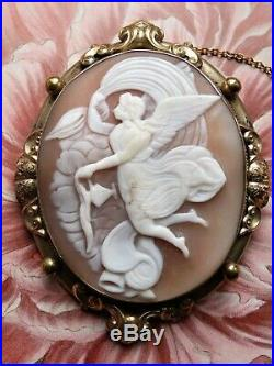 Fine Large Antique Winged Goddess Angel Shell Cameo Brooch Pin