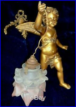 French Antique Painted Sconce/ Chandelier Winged Angel Cherub Pink Rose Shade