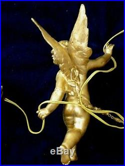 French Large Antique Chandelier Winged Angel Cherub with 2 Rose Shades