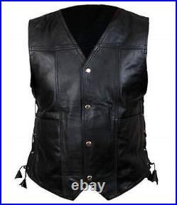 Genuine Cowhide Leather Vest, Perfect Mens Wearing, Black With Angel Wings