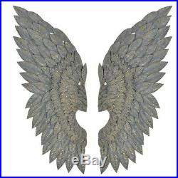 Gilt Metal Angel Wings Wall Art Feather Effect Large wall mounted large wings