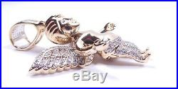 Gold winged angel pendant diamond set large 12.2g