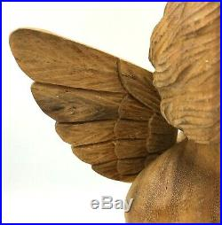 Hand Carved Wooden Cherub Angel Wings Statue 17 x 11 Large Olive Wood