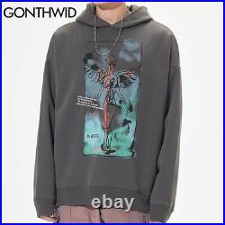 Hooded Sweatshirt Graffiti Wings Angel Print Fleece Mens Pullover Top Sweater
