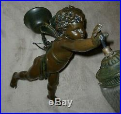 Huge French Vintage Chandelier Winged Angel Cherub Amour With a Bow