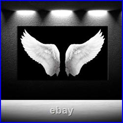 IKNOW FOTO Large Black and White Canvas Prints Angel Wings Wall Art Contemporary