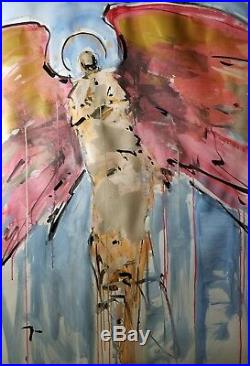 JOSE TRUJILLO Angel Wings Expressionism Abstract 30x40 Large Modern Acrylic Art