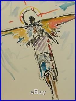 JOSE TRUJILLO Large 18x24 ORIGINAL Watercolor Painting SIGNED Angel Wings COA