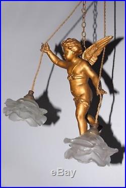 LARGE ANTIQUE/ VINTAGE FRENCH WINGED CHERUB ANGEL PUTTI CHANDELIER c1930th
