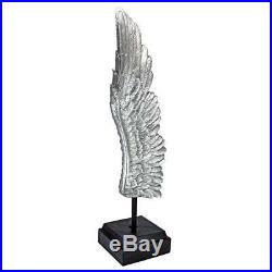 LARGE SILVER CHERUB ANGEL WING SCULPTURE Modern Contemporary Art Mom Religious