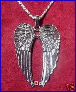 LOOK Saint Michael Large Sterling Silver 925 charm Pendant Angel wings Jewelry