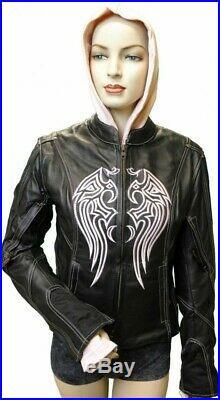 Ladies BLACK Leather JACKET PurpleBlackPink EMBROIDERED Angel WING s/o HOODIE