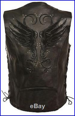Ladies Black Inlay Angel Wings Black Leather Motorcycle Vest with Rivet Detail