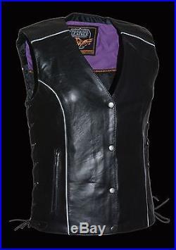 Ladies Purple Inlay Angel Wings Black Leather Motorcycle Vest with Rivet Detail