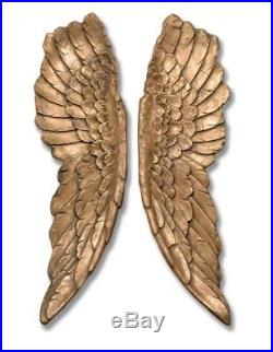 Large 104cm Antique Gold Angel Wings Wall Art Fairy Decor Shabby Chic Vintage