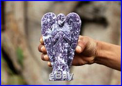 Large 135 MM Purple Lepidolite Healing Reiki Power Chakra Stone Figurine Wings