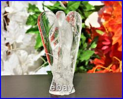 Large 165MM Clear Crystal Quartz Hand Carved Figurine Wings Handcarved Angel