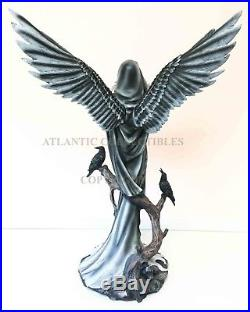 Large 24.5 Tall Hooded Fairy with Angel Wings & Raven Crow Decorative Statue
